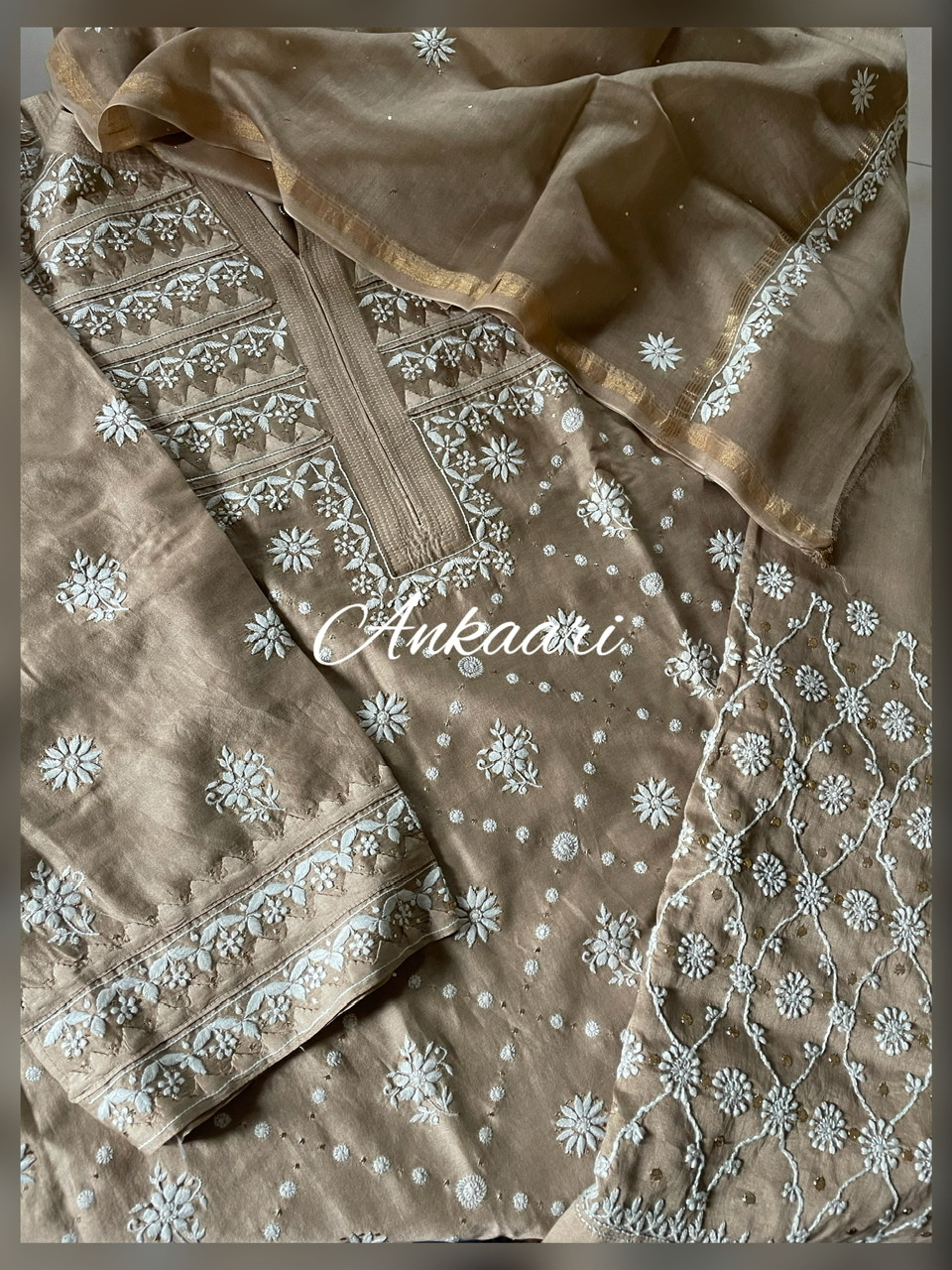Pure chanderi silk suit set