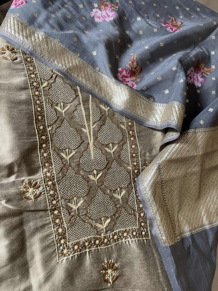 Cotton silk kurta, pure chanderi dupatta